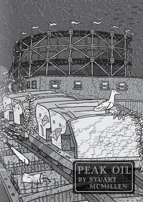 Peak Oil comic by Stuart McMillen. Title page. Rollercoaster by Red House Painters. Black and white drawing of roller coaster car at abandoned amusement park.